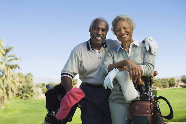 older couple golfing | Dentures in Rockaway NJ | West Main Complete Dentistry